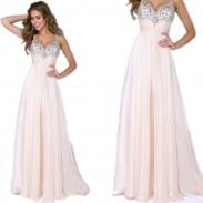 Mode Maxi Abschlussball Kleid Rüschen Chiffon Hosen Pailletten Sparkle Abendkleider