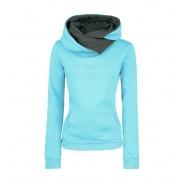 Mode Revers Kapuze reine Farbe langen Abschnitt Pullover