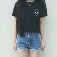 Alien Print Schwarz Kurzarm Rundhals-T-Shirt
