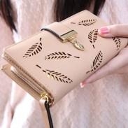Einzigartige PU verlässt ausgehöhlten Rechteck Geldbörse Karte Tasche Mädchen Brieftasche Clutch Bag