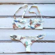 Gepolsterter BH Bikini Set Brid Druck Badeanzug Damen-Bademode