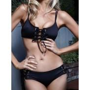 Schwarz Kreuz Riemen Bikini Gepolstert BH Dreieck Badeanzüge Bikini einstellen
