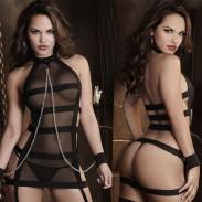 Sexy Stripe Cosplay Prisoner Women Perspective Dessous