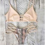 Serpentine Print Bandge Sexy Bikini Set Badeanzug