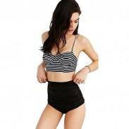 Mode Striped Printed Top Badeanzug Sexy Bikini Bademode Badeanzug