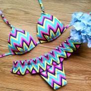 Geometrisch Streifen Bikini Badeanzug Teilt Welle Drucken Bademode