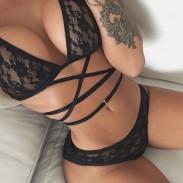 Sexy Frauen Unterwäsche Set Transparent Stickerei Spitze Bandage BH Nachtwäsche Dessous Set