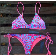 Jahrgang Sonnenblume Druck-Bikini-Strand-Badebekleidung Badeanzug