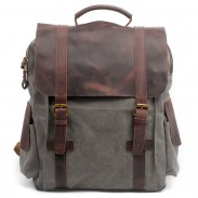 Retro handgefertigten Outdoor großen Rucksack Leder Spleißen Dickes Segeltuch Schulrucksack