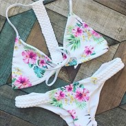 Hand-vorbereiteter Blumendruck Badeanzug Sexy Bikini Badeanzug Badeanzug