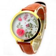 Frische Blumen Gold Rand Polymer Lehm Uhr