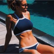 Dreieck Sexy Ernte Top Bikini Set Hochdrücken Badebekleidung Strand-Badeanzug