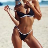 Sexy einfachen Bikini schwarz Kontrastfarbe Sling heißen Sommer Badeanzug