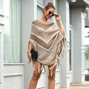 Freizeit Herbst Mantel Schal Quaste Geometrie Rundkragen Pullover Frauen Pullover