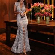 Elegantes hohles tiefes V-schmales Kleid Spitzenparty Geteiltes langes Kleid