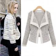 Mode-Qualität Bettwäsche stricken Langarm Revers Mantel
