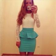 Schnüren Volant Broschierung schlanke Frauen Kleid