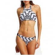 Striped Wave Printed Tank Bikini Set Unregelmäßige Grafiken Badeanzug Bademode Badeanzug
