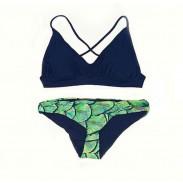 Neue Tank Bandage Skalen gedruckt Bikini Set Badeanzug Bademode Badeanzug