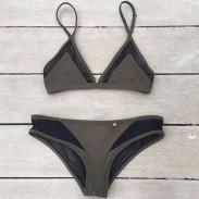 Reine Halter Sexy Mesh Bikini Set Badeanzug Bademode Badeanzug