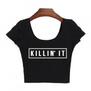 KILLIN'IT Drucken sexy Ausgesetzt Nabel Kurzarm T-Shirt