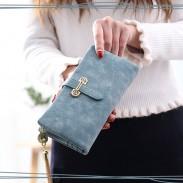 Kreatives Mädchen Dull Polish Leder Multifunktions-Geldbörse Unterarmtasche Lange Brieftasche