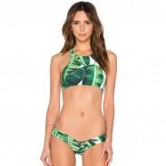 Frischer grüner Blatt-Druck-aufgeteilter Bikini-Badeanzug