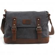 Mode Spleißen Ledergürtel Handtasche Retro Klappe Handtasche Dickes Segeltuch Schultertasche