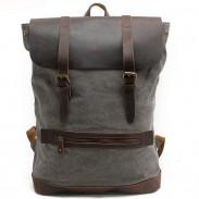 Retro große Camping-Zylinder-Tasche Echtes Leder-Spleißen-starkes Segeltuch-im Freien wandernder Rucksack