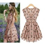 Schöne neue Perle Chiffon Elk Muster-dünnes Kleid