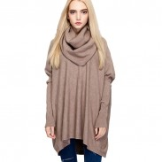 Mode High-Necked Batwing Long-sleeved Pullover außerhalb tragen Pullover