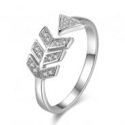Süße Liebe Pfeil Silber Ring Diamant Feder Silber Offener Ring