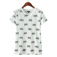 Süß Elefant Muster Kurzhülse Baumwolle T-Shirt