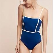 Sexy Simple Sling Einteiliger Damen Bikini-Badeanzug mit hoher Taille