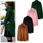 Mode Hohe Kragen Thermische Unregelmäßige Candy Farbe Kaninchenhaar Pullover