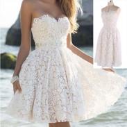 Elegante Damen A-Linie Blumen Spitze Prom trägerlosen Party kurze Kleider