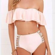 Neue Lotusspitze Split Pink Kaffee Bikini-Set