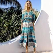 Damen Halbarm Bohemian Printing Kleid in voller Länge
