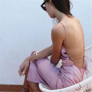 Sexy Nizza Pink Neckholder Backless Kleid