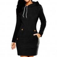 Reine Farbe Kapuze Pullover Silm langen Ärmeln Frauen Herbst Pullover Kleid