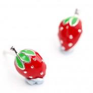 Süße Erdbeer Mädchen 925 Silber Ohrstecker