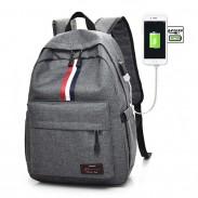 Freizeit rot weiß schwarz Streifen USB-Schnittstelle große Reisetasche Studententasche Leinwand Rucksack