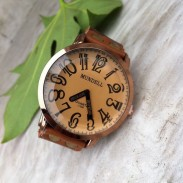 Retro Konvex handmde Leder Uhr