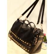 Vintage schwarze Nieten Reißverschluss Handtasche Schultertasche