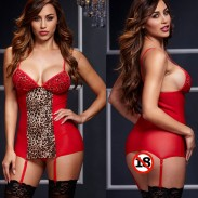 Sexy Leopard Nachtkleid Nachthemd Perspektive Sling Pyjamas Frauen Intime Dessous