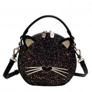 Schöne Kätzchen Pailletten schwarze Katze Dame Schultertasche Eimertasche