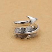 Retro Federpfeil indisch Stil Federsilber Offene Ringe