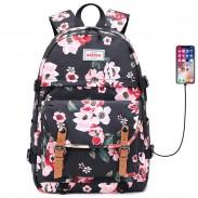Freizeit Doppelschnalle Blumendruck Wasserdichter Junior Schultaschenrucksack Rucksack mit großer Kapazität