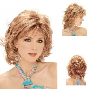 Mode weiße Dame Diagonal Pony Haarhaube kurze lockige goldene Haar Perücken