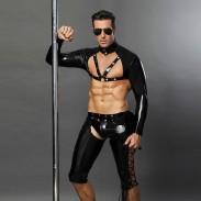 Sexy Black Nightclub Versuchung Leder Niet Polizei Uniform Gay Bar Performance Kleidung Cosplay Herren Dessous